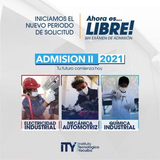 Aperturamos la segunda admisión de este año 2021